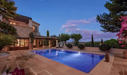 Elegantly designed stone Finca in Puerto Andratx, Palma de Mallorca, Balearic Islands, Spain
